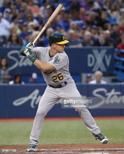 Matt Chapman of the Oakland Athletics bats in the fifth inning during MLB game action against the Toronto Blue Jays at Rogers Centre on July 24 2017...