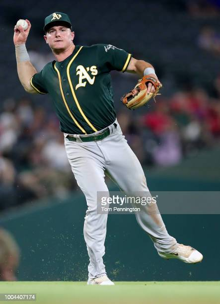 Matt Chapman of the Oakland Athletics fields a ground ball for an out against the Texas Rangers in the bottom of the eighth inning at Globe Life Park...