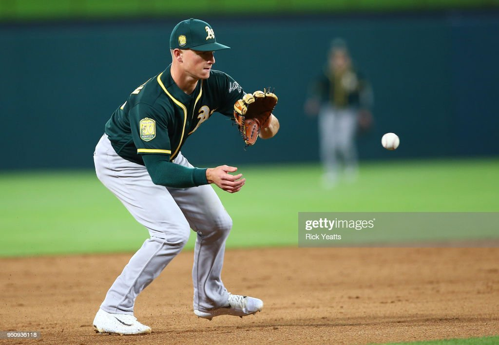 Matt Chapman #26 of the Oakland Athletics fields a ground ball in the sixth inning against the Texas Rangers at Globe Life Park in Arlington on April 24, 2018 in Arlington, Texas.