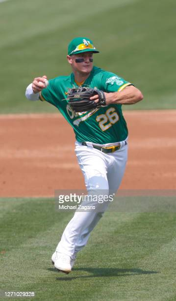 Matt Chapman of the Oakland Athletics fields during the game against the Los Angeles Angels at RingCentral Coliseum on August 22, 2020 in Oakland,...