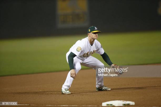 Matt Chapman of the Oakland Athletics fields during the game against the Seattle Mariners at the Oakland Alameda Coliseum on May 22 2018 in Oakland...