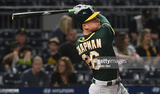 Matt Chapman of the Oakland Athletics hits a two run home run in the seventh inning during the game against the Pittsburgh Pirates at PNC Park on May...