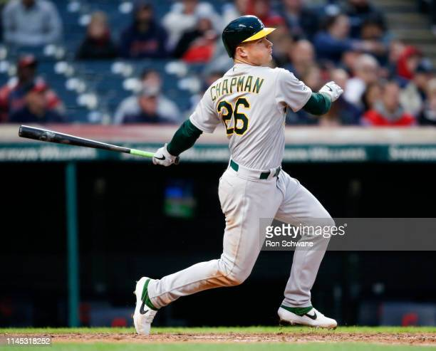 Matt Chapman of the Oakland Athletics hits an RBI single off Dan Otero of the Cleveland Indians during the seventh inning at Progressive Field on May...