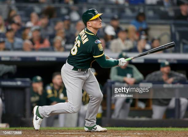 Matt Chapman of the Oakland Athletics in action against the New York Yankees in the American League Wild Card Game at Yankee Stadium on October 3...