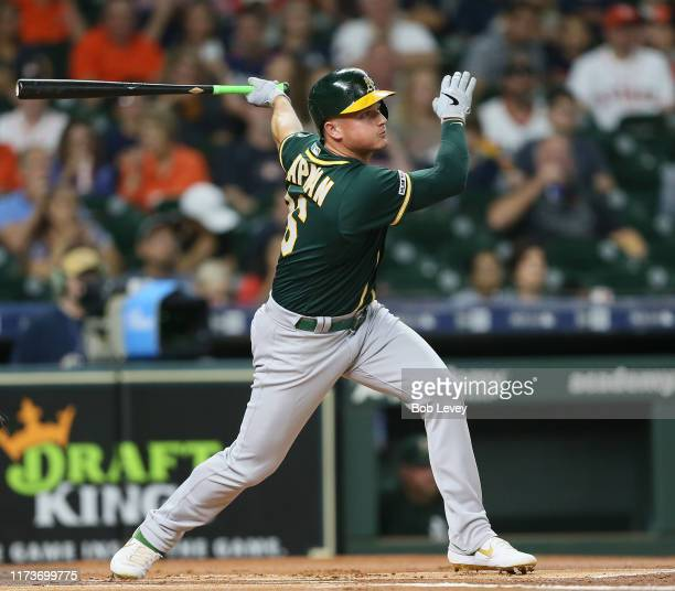 Matt Chapman of the Oakland Athletics lines out to center in the first inning against the Houston Astros at Minute Maid Park on September 10, 2019 in...