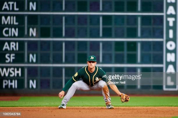 Matt Chapman of the Oakland Athletics looks on against the Houston Astros during a baseball game at Minute Maid Park on Wednesday August 29 2018 in...