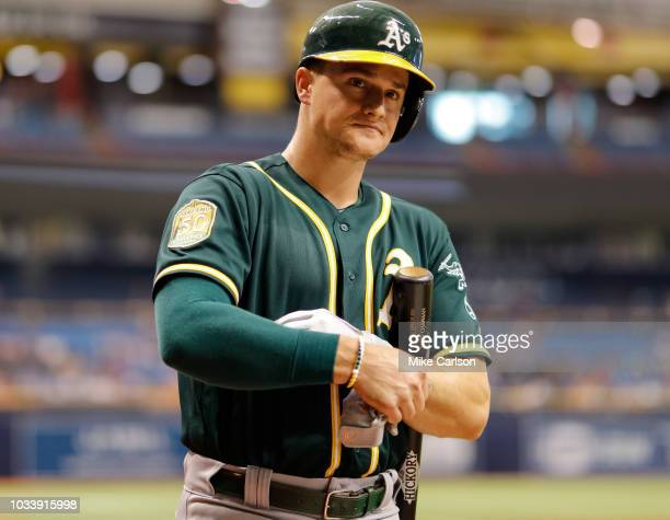Matt Chapman of the Oakland Athletics on deck in the first inning of a baseball game against the Tampa Bay Rays at Tropicana Field on September 15...