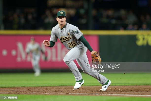 Matt Chapman of the Oakland Athletics plays third base during the game against the Seattle Mariners at Safeco Field on September 24 2018 in Seattle...