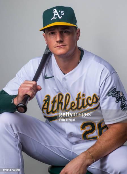 Matt Chapman of the Oakland Athletics poses for a portrait at the Oakland Athletics Spring Training Facility at Hohokam Stadium on February 20, 2020...