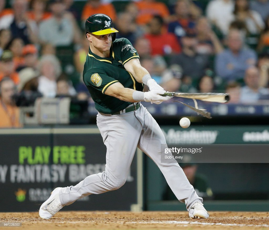Matt Chapman #26 of the Oakland Athletics shatters his bat against the Houston Astros at Minute Maid Park on July 12, 2018 in Houston, Texas.