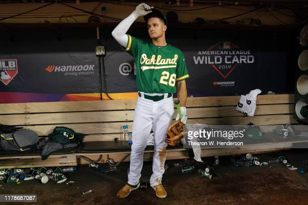 Matt Chapman of the Oakland Athletics sits in the dugout after being defeated 51 by the Tampa Bay Rays during the American League Wild Card Game at...