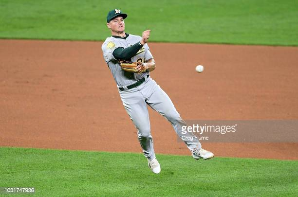 Matt Chapman of the Oakland Athletics throws out Renato Nunez of the Baltimore Orioles in the seventh inning at Oriole Park at Camden Yards on...