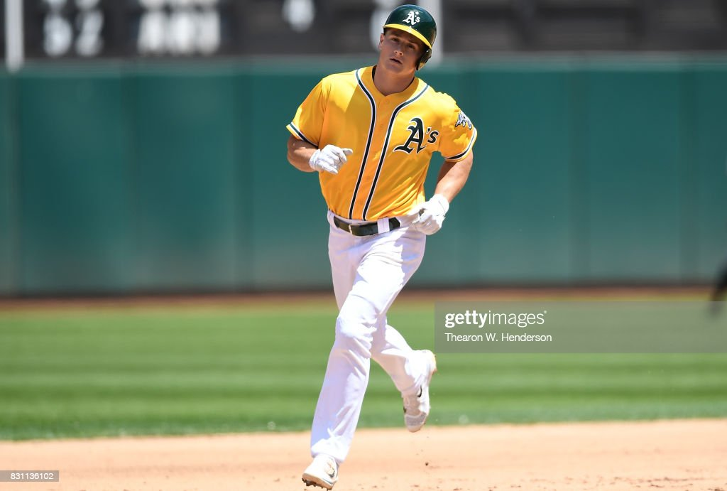 Matt Chapman #26 of the Oakland Athletics trots around the bases after hitting a three-run homer against the Baltimore Orioles in the bottom of the fourth inning at Oakland Alameda Coliseum on August 13, 2017 in Oakland, California.