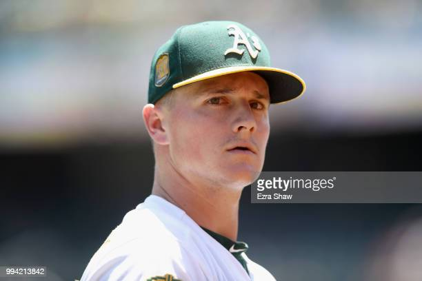 Matt Chapman of the Oakland Athletics walks back to dugout against the Houston Astros at Oakland Alameda Coliseum on June 14 2018 in Oakland...