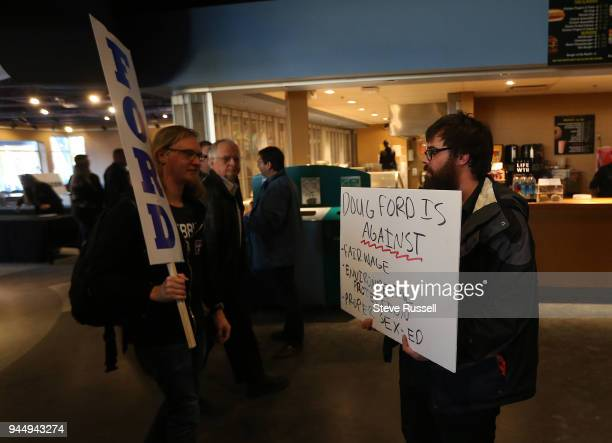 SUDBURY ON APRIL 11 Matt Charon holds a sign with a couple key points he feels Dog Ford is against Charon was allowed to stay for the rally PC Leader...