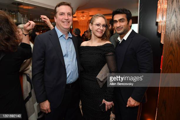 """Matt Cherniss, Emily V. Gordon and Kumail Nanjiani attend the premiere of Apple TV+'s """"Little America"""" afterparty on January 23, 2020 in West..."""