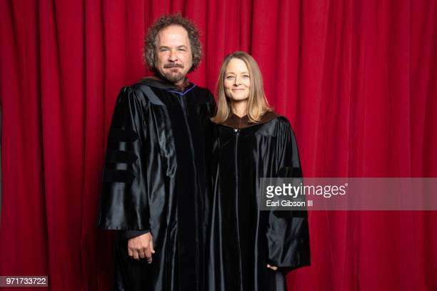 Matt Chesæe and Jodie Foster pose for a photo at AFI's Conservatory Commencement Ceremony at TCL Chinese Theatre on June 11 2018 in Hollywood...