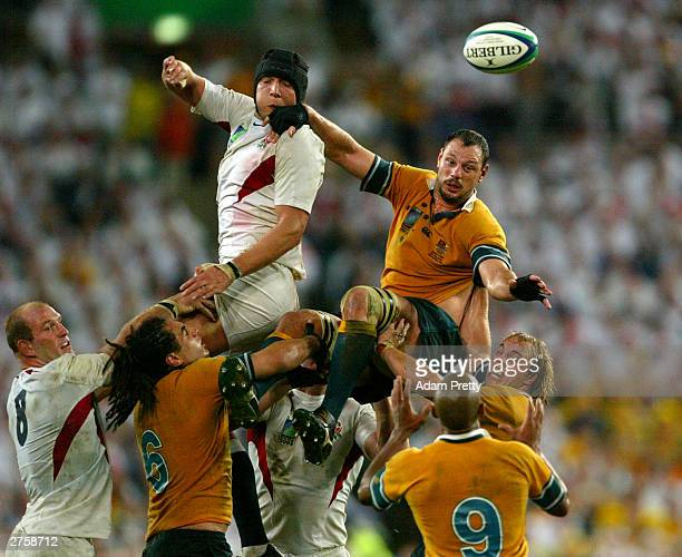 Matt Cockbain of Australia wins the lineout ball from Ben Kay of England during the Rugby World Cup Final match between Australia and England at...