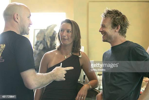 Matt Colburn Layne Beachley and Simon Baker during Rip Curl Malibu Pro Press Conference at Granita in Malibu California United States