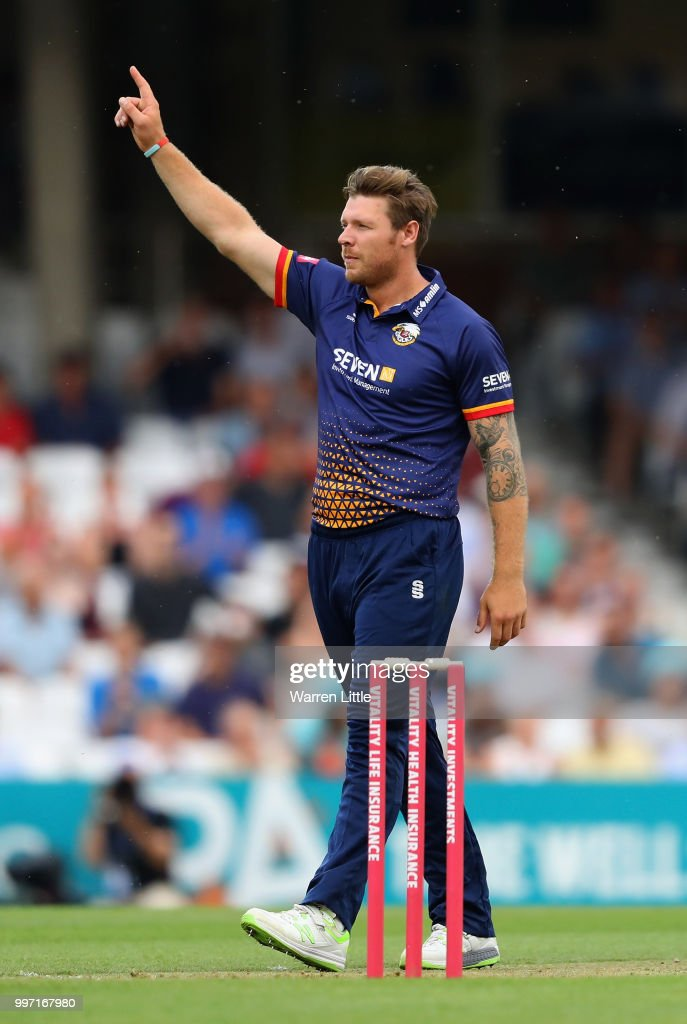 Matt Coles of the Essex Eagles celebrates dismissing Rory Burns of Surrey during the Vitality Blast match between Surrey and Essex Eagles at The Kia Oval on July 12, 2018 in London, England.