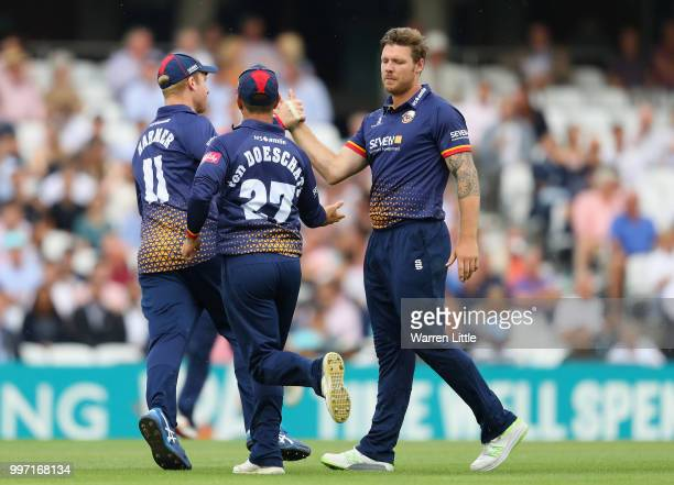 Matt Coles of the Essex Eagles celebrates dismissing Rory Burns of Surrey during the Vitality Blast match between Surrey and Essex Eagles at The Kia...