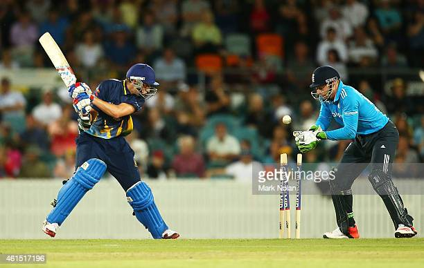 Matt Condon of the PMs Xi is bowled during the tour match between the Prime Ministers XI and England at Manuka Oval on January 14 2015 in Canberra...