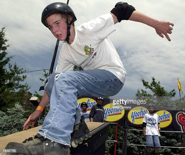 Matt Cook of Edgewood Kentucky inline skates on the street course at the Mobile Skatepark Series May 31 2002 in Cincinnati OH The extreme sports...
