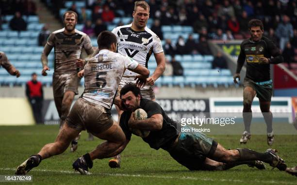 Matt Cook of the London Broncos Scores a try during the Super League match between London Broncos and Hull at Twickenham Stoop on March 23 2013 in...