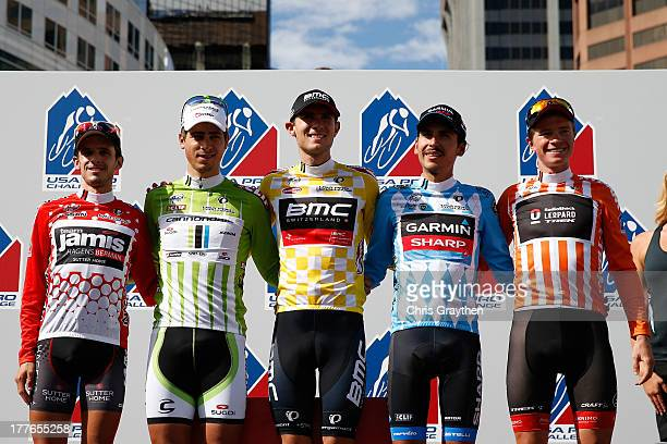 Matt Cooke of team Jamis-Hagens Berman in the red Nissan King of the Mountain jersey, Peter Sagan of Slovakia and Cannondale Pro Cycling in the green...