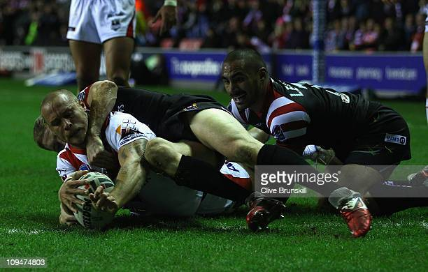 Matt Cooper of St George Illawarra Dragons scores his teams second try during the World Club Challenge match between Wigan Warriors and St George...