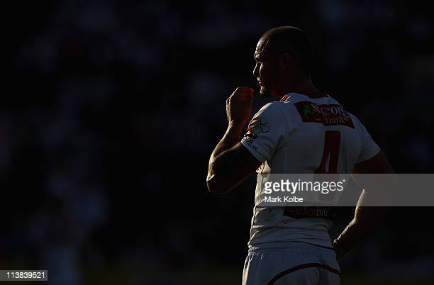 Matt Cooper of the Dragons watches on during the round nine NRL match between the St George Illawarra Dragons and the North Queensland Cowboys at WIN...