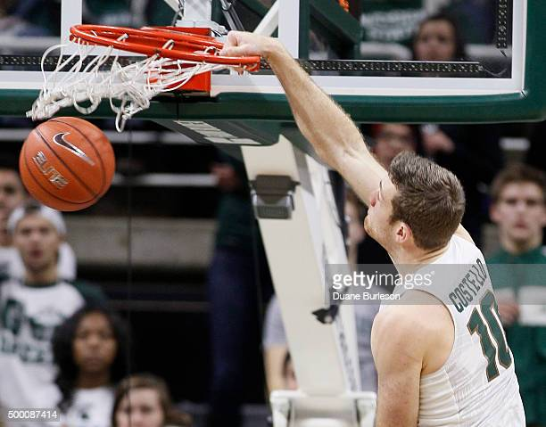 Matt Costello of the Michigan State Spartans dunks the ball against Binghamton during the second half at Breslin Center on December 5 2015 in East...