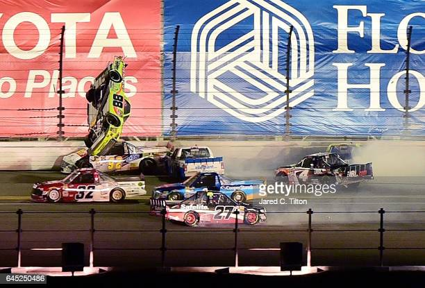 Matt Crafton driver of the Goof Off/Menards Toyota flips during the NASCAR Camping World Truck Series NextEra Energy Resources 250 at Daytona...