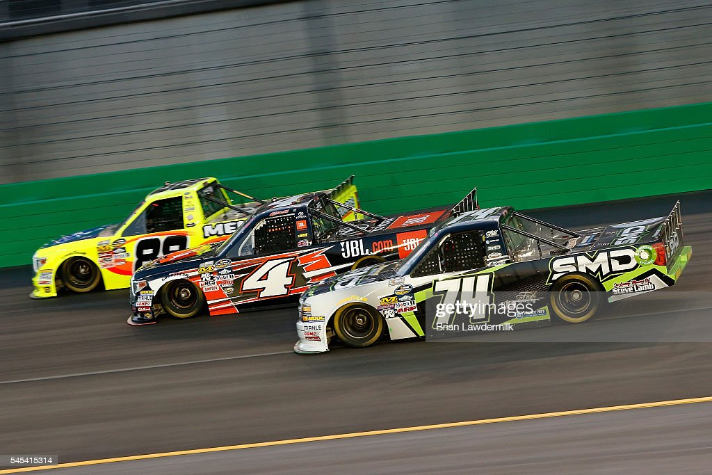 Matt Crafton Driver Of The Great Lakes Flooring/Menards Toyota Leads  Christopher Bell Driver Of