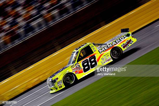 Matt Crafton driver of the Great Lakes/Menards Toyota races during the NASCAR Camping World Truck Series North Carolina Education Lottery 200 at...