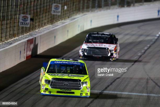 Matt Crafton driver of the Ideal Door/Menards Toyota races during the NASCAR Camping World Truck Series JAG Metals 350 Driving Hurricane Harvey...