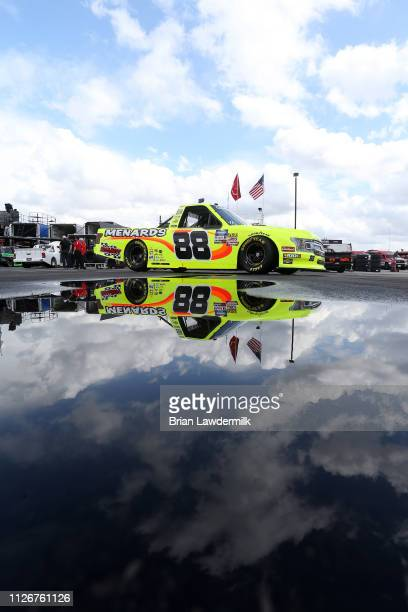 Matt Crafton driver of the Rip It/Menards Ford drives during practice for the NASCAR Gander Outdoor Truck Series Ultimate Tailgating 200 at Atlanta...