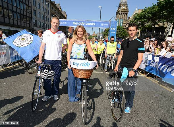 Matt Crampton and Ben Swift with Kimberley Walsh attend Sky Ride in Leeds a free fun family cycling event from Sky and British Cycling held in...