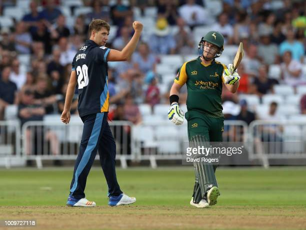 Matt Critchley of Derbyshire celebrates after taking the wicket of Tom Moores during the Vitality Blast match between Nottinghamshire Outlaws and...