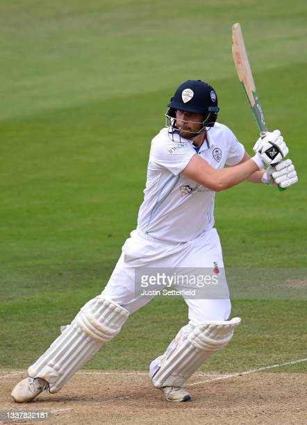 Matt Critchley of Derbyshire plays a shot during Day four of the LV= Insurance County Championship between Middlesex and Derbyshire at Lord's Cricket...