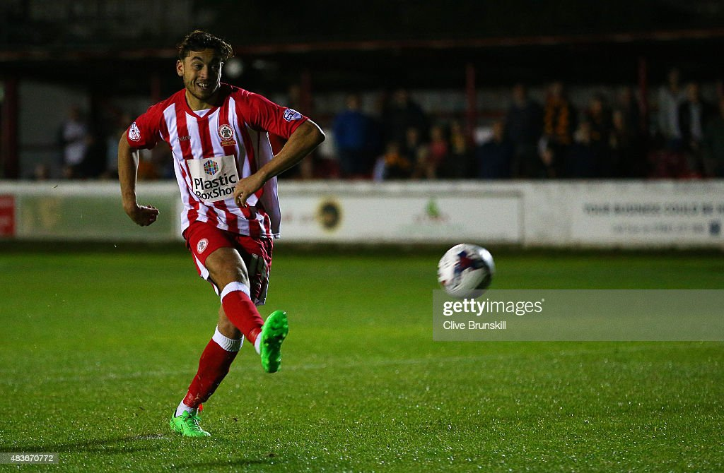 Matt Crooks of Accrington Stanley misses his penalty in the shoot out and handing victory to Hull City during the Capital One Cup First Round match between Accrington Stanley and Hull City at Wham Stadium on August 11, 2015 in Accrington, England.