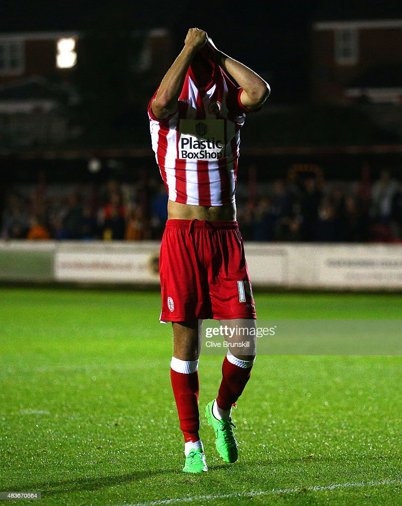 Matt Crooks of Accrington Stanley shows his despair after missing his penalty in the shoot out and handing victory to Hull City during the Capital One Cup First Round match between Accrington Stanley and Hull City at Wham Stadium on August 11, 2015 in Accrington, England.