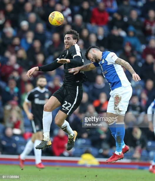 Matt Crooks of Northampton Town contests the ball with Derrick Williams of Blackburn Rovers during the Sky Bet League One match between Blackburn...