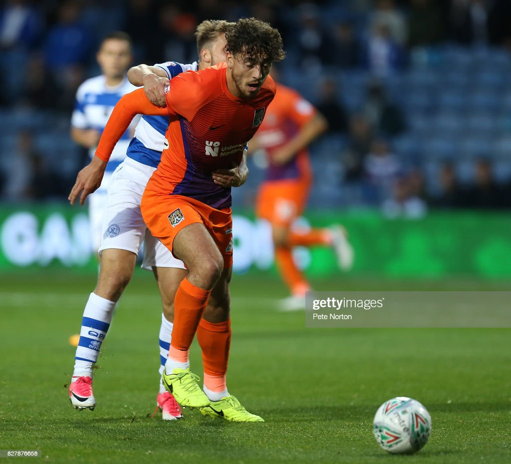 Matt Crooks of Northampton Town in action during the Carabao Cup first round match between Queens Park Rangers and Northampton Town at Loftus Road on August 8, 2017 in London, England.