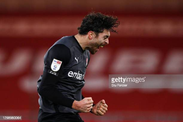 Matt Crooks of Rotherham United celebrates after scoring their sides first goal during the Sky Bet Championship match between Middlesbrough and...