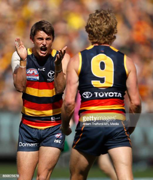 Matt Crouch of the Crows congratulates Rory Sloane of the Crows on a goal during the 2017 Toyota AFL Grand Final match between the Adelaide Crows and...