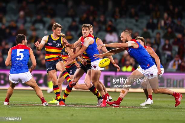 Matt Crouch of the Crows kicks the ball during the round 10 AFL match between the Adelaide Crows and the Melbourne Demons at Adelaide Oval on August...