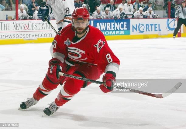 Matt Cullen of the Carolina Hurricanes skates against the Edmonton Oilers during game two of the 2006 NHL Stanley Cup Finals on June 7 2006 at the...