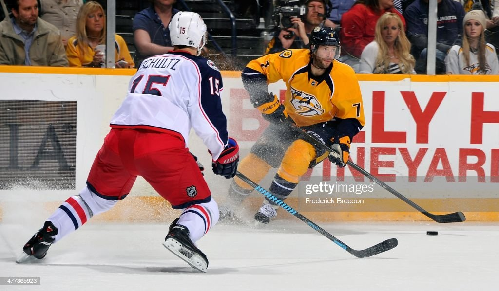 Matt Cullen #7 of the Nashville Predators carries the puck against the Columbus Blue Jackets at Bridgestone Arena on March 8, 2014 in Nashville, Tennessee.