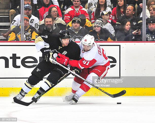 Matt Cullen of the Pittsburgh Penguins and Xavier Ouellet of the Detroit Red Wings skate after the puck at Consol Energy Center on February 18 2016...